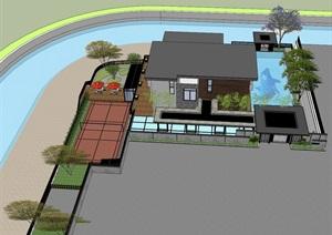 中式别墅庭院花园、别墅花园、花园游泳池