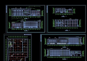 某现代四层学校食堂建筑设计cad施工图