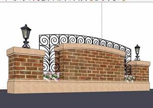园林景观详细的景观墙素材设计SU(草图大师)模型