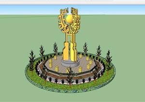 園林景觀詳細標志小品節點素材設計SU(草圖大師)模型