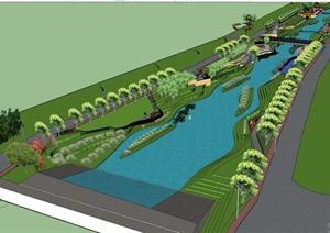 河道濱水景觀硬渠改造方案模型設計