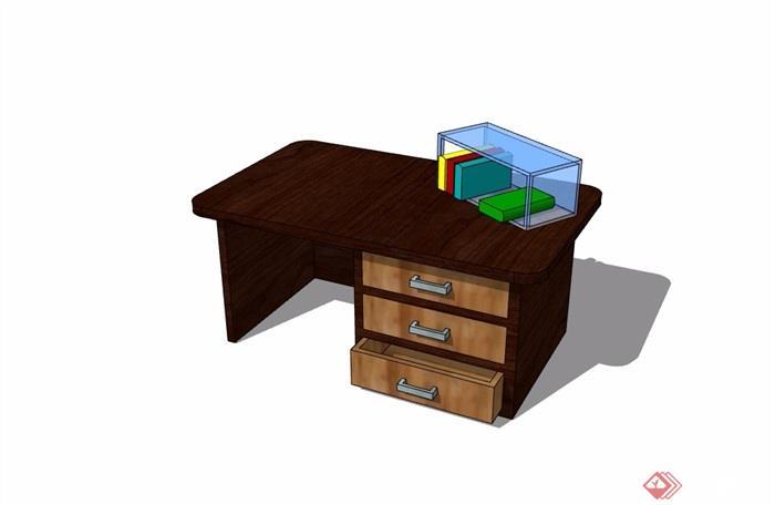 现代风格书桌详细完整设计su模型