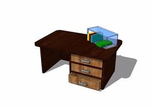 现代风格书桌详细完整设计SU(草图大师)模型