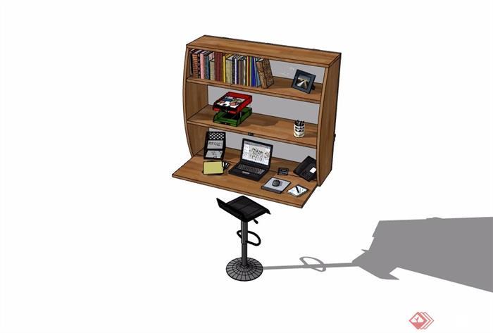 现代风格书桌柜详细完整设计su模型