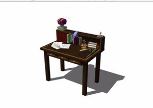 现代书桌详细完整设计SU(草图大师)模型