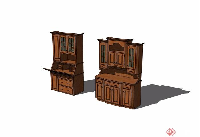 现代风格两个柜子详细完整设计su模型
