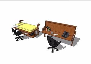 现代风格桌椅详细完整设计SU(草图大师)模型