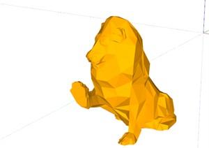 现代风格 动物雕塑摆件  狮子商业摆件 棱形雕塑
