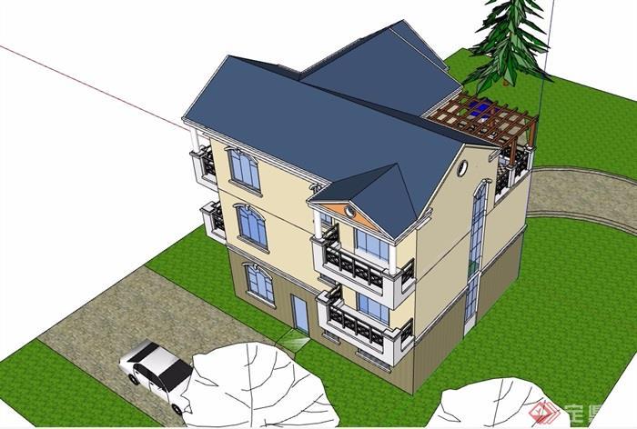 三层欧式私人住宅别墅设计su模型