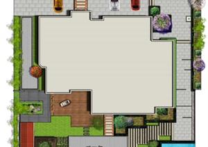 高端别墅庭院景观设计CAD方案、PS平面效果图