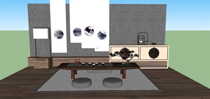 新中式禅意桌椅套装su模型(1)