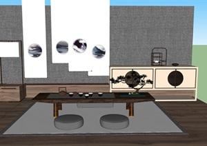 新中式禅意桌椅套装SU(草图大师)模型