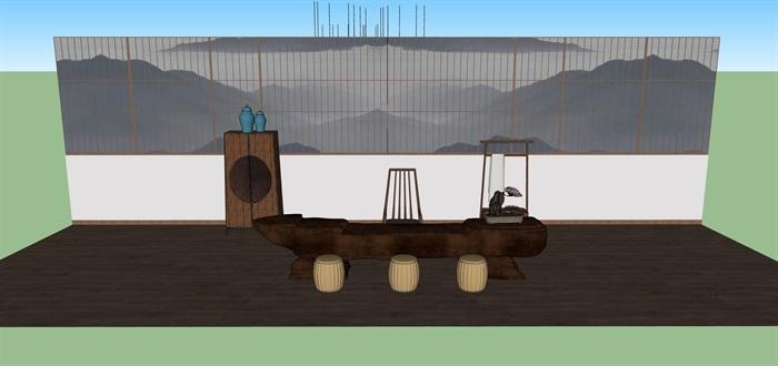 新中式禅意桌椅套装su模型(2)