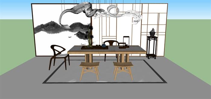 新中式禅意桌椅套装su模型(3)