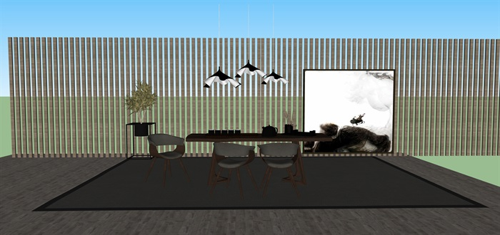 新中式禅意桌椅套装su模型(5)