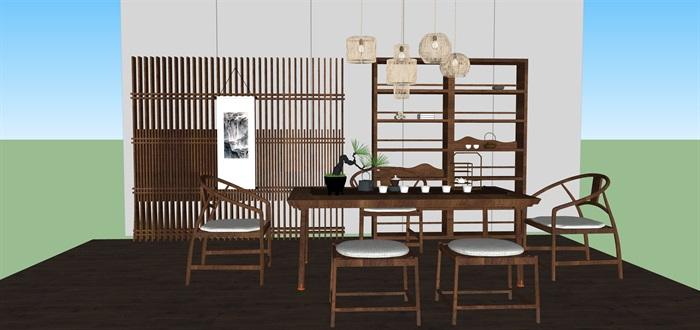 新中式禅意桌椅套装su模型(8)