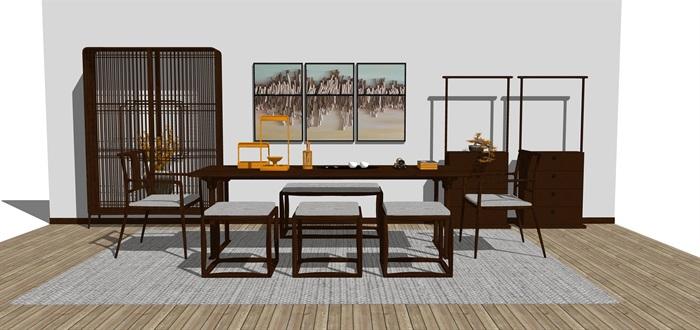 新中式禅意桌椅摆件su模型(2)
