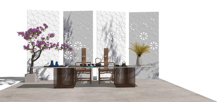 新中式禅意桌椅摆件su模型(6)