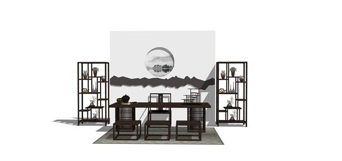 新中式禅意桌椅摆件su模型(8)