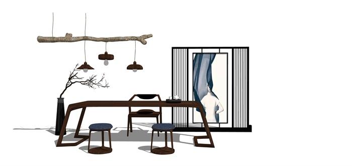 新中式禅意桌椅摆件su模型(9)