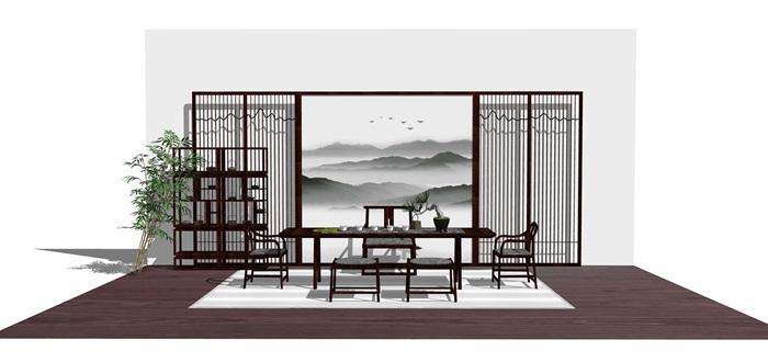 新中式禅意桌椅摆件su模型(10)