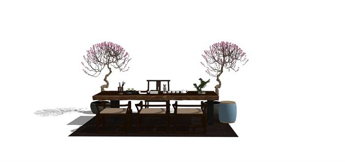新中式禅意桌椅摆件su模型(11)