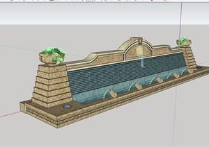 现代风格详细的水景墙素材设计SU(草图大师)模型