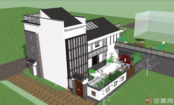 中式民居住宅建筑单体设计su模型
