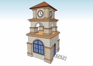 欧式风格景观节点钟塔设计SU(草图大师)模型