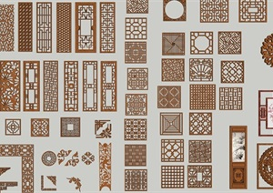 中式雕花的SU(草圖大師)模型各種類型