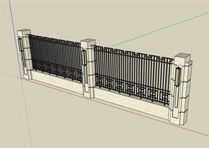 现代风格栏杆围墙素材设计SU(草图大师)模型