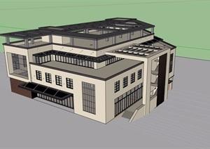 现代风格独特食堂多层建筑设计SU(草图大师)模型