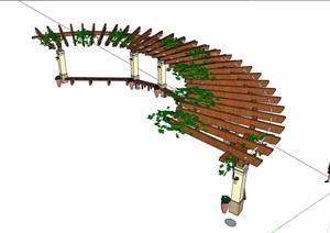 欧式风格景观景观木质廊架SU(草图大师)模型