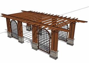 欧式风格木质景观廊架SU(草图大师)模型