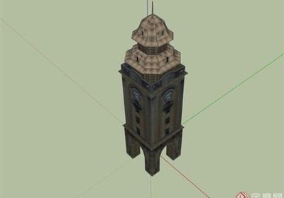 歐式風格詳細的鐘樓素材設計su模型