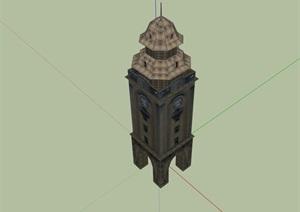 欧式风格详细的钟楼素材设计SU(草图大师)模型