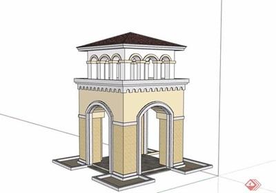 歐式詳細的整體景觀塔素材設計su模型