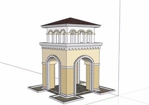 欧式详细的整体景观塔素材设计SU(草图大师)模型