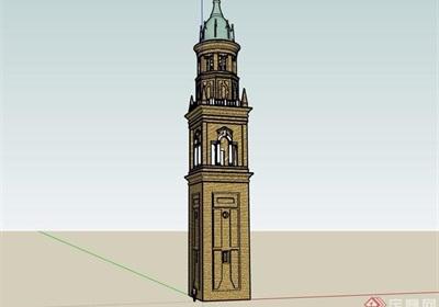 歐式風格詳細的完整塔素材設計su模型