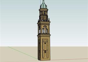 欧式风格详细的完整塔素材设计SU(草图大师)模型