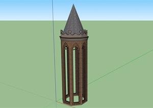 英式风格详细的塔素材设计SU(草图大师)模型