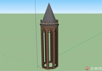 英式風格詳細的塔素材設計su模型