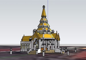 欧式风格详细的塔素材设计SU(草图大师)模型