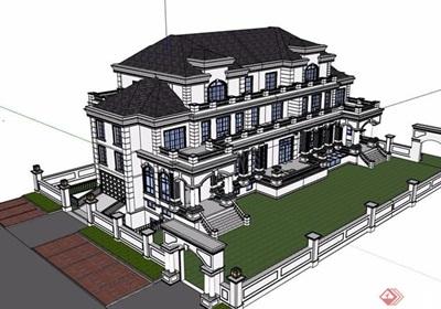 美式風格詳細的多層別墅設計su模型
