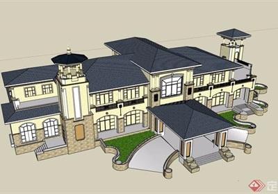 歐式風格詳細的精致售樓部建筑設計su模型