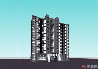 現代風格某集團辦公多層建筑設計su模型