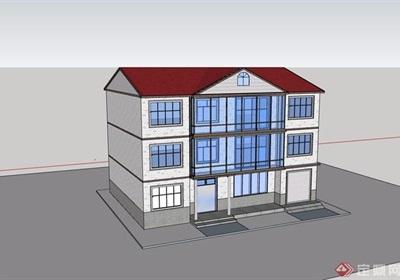 歐式農家三層住宅民居建筑設計su模型