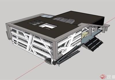 某現代風格多層詳細的劇院建筑設計su模型