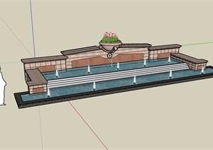 园林景观详细的喷泉水池景观设计SU(草图大师)模型