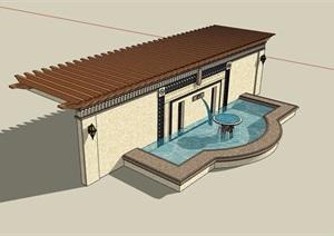园林景观水池景墙廊架素材设计SU(草图大师)模型